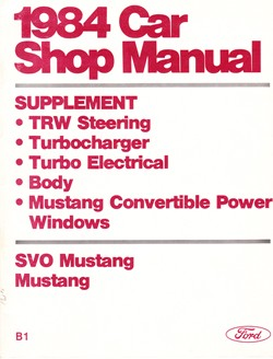 1984 Ford Car Factory Shop Manual Supplement