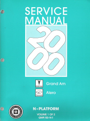 2000 Pontiac Grand Am, Oldsmobile Alero & Buick Skylark Factory Service Manual - 2 Volume Set