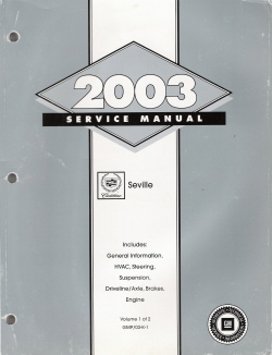 2003 Cadillac Seville Factory Service Manual - 2 Volume Set