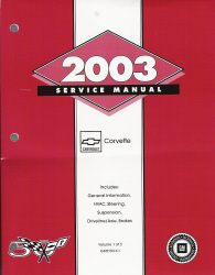 2003 Chevrolet Corvette Service Manual - 3 Volume Set