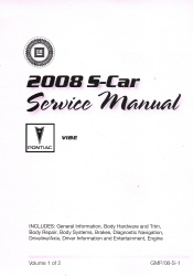 2008 Pontiac Vibe Factory Service Manual- 2 Volume Set