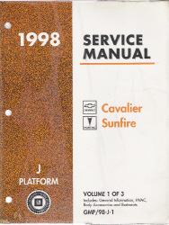 1998 Pontiac Sunfire and Chevrolet Cavalier Factory Service Manual - 3 Volume Set
