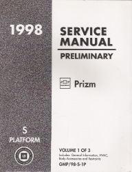 1998 Chevrolet / Geo Prizm Preliminary Factory Service Manual - 3 Volume Set