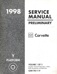 1998 Chevrolet Corvette Factory Service Manual Preliminary Edition - 3 Volume Set