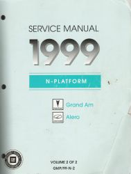 1999 Pontiac Grand Am and Oldsmobile Alero Factory Service Manaul - 2 Volume Set