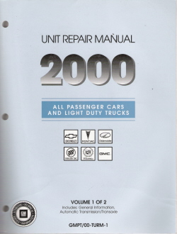 2000 All GM Passenger Cars and Light Duty Trucks Transmission, Transaxle and Transfer Case Unit Repair Manual, 2 Volume Set