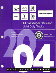 2004 All GM Passenger Cars and Light Duty Trucks Transmission, Transaxle and Transfer Case Unit Repair Manual