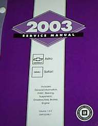 2003 Chevrolet Astro & GMC Sarari Van Factory Service Manual