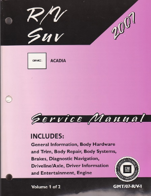 2007 GMC Acadia Factory Service Manual - 2 Volume Set