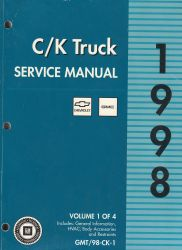 1998 Chevrolet GMC C / K Truck Service Manual - 4 Volume Set