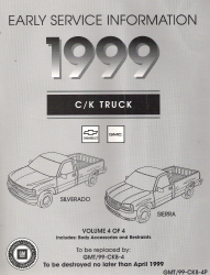 1999 Chevrolet GMC Early Service Information C/K Truck Service Manual - 4 Volume Set