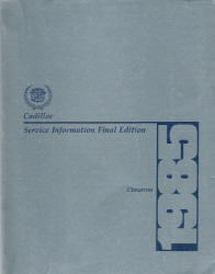 1985 Cadillac Cimarron Factory Service Manual