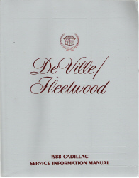 1988 Cadillac Deville / Fleetwood Service Information Manual