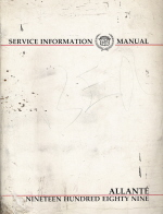 1989 Cadillac Allante Factory Service Manual