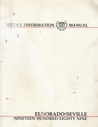1989 Cadillac Eldorado and Seville Factory Service Manual