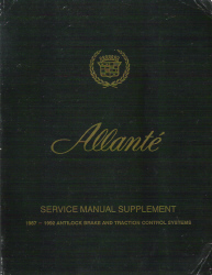 1987 - 1992 Cadillac Allante Antilock Brake and Traction Control Systems Service Manual Supplement