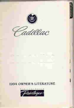 1994 Cadillac Concours Owner's Manual