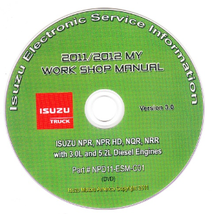 2011 - 2012 Isuzu N Series (3.0L / 5.2L Diesel Engine Only) Factory Workshop Manual on CD-ROM