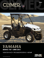 2008 - 2012 Yamaha Rhino 700 Clymer ATV Maintenance, Troubleshooting, Repair Manual