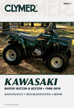 1988 - 2010 Kawasaki Bayou KLF220, KLF250 Clymer ATV Service, Repair, Maintenance Manual