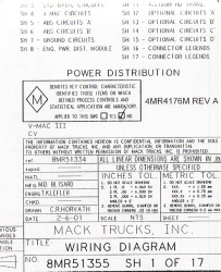 Mack Wiring Diagram Chassis Series CV 2001-2002