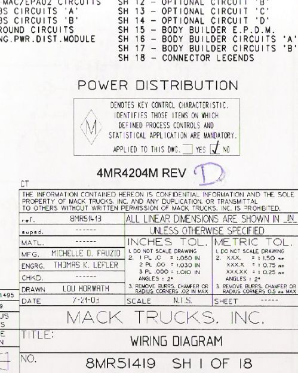 Mack Wiring Diagram Chassis CT 2004-2005