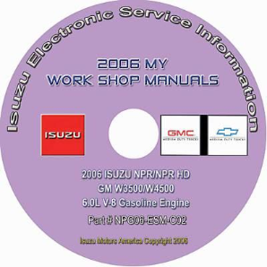 2006 Isuzu N Series & GMC, Chevrolet W Series (6.0L V8 Gas Engine Only) Factory Workshop Manual on CD-ROM
