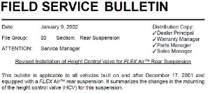 Peterbilt Revised Installation of Height Control Valve for FLEX Air Rear Suspension