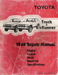 1988 Toyota Pickup Truck & 4Runner Factory Service Manual - 3 Volume Set