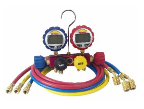 Robinair 4-Way Manifold with Digital Gauges & 60-inch Enviro-Guard Hoses w/ Quickseal Fittings