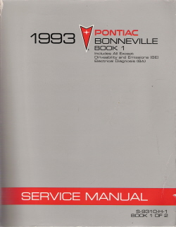 1993 Pontiac Bonneville Factory Service Manual - 2 Volume Set