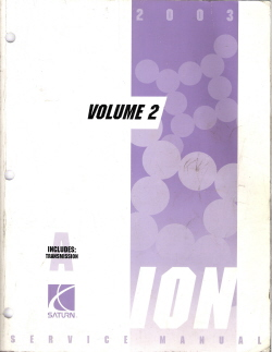 2003 Saturn Ion Factory Service Manual - 3 Volume Set