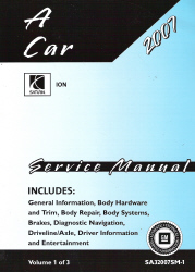 2007 Saturn Ion Factory Service Manual - 3 Volume Set