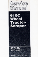 Caterpillar 615C Wheel Tractor - Scraper Factory Service Manual Serial Numbers 5TF1-Up & 2XG1-897