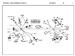 Peterbilt Cab Harness / Connector Schematic for models with Detroit Diesel DDEC-II Engine