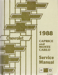 1988 Chevrolet Caprice & Monte Carlo Service Manual with Electrical Diagnosis Supplement