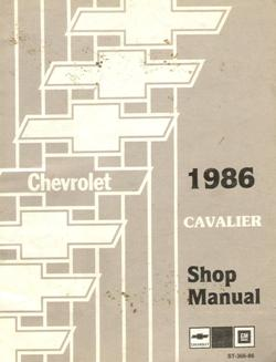 1986 Chevrolet Cavalier Factory Service Manual with Electrical Diagnosis Supplement
