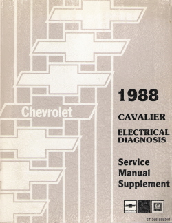 1988 Cavalier Electrical Diagnosis Service Manual Supplement