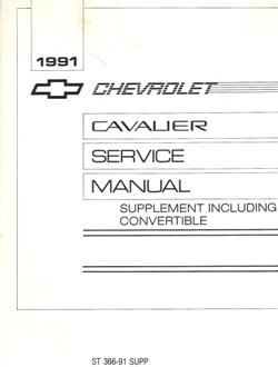 1991 Chevrolet Cavalier Factory Service Manual Convertible Supplement