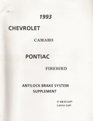 1993 Chevrolet Camaro & Pontiac Firebird Antilock Brake System Supplement