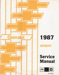 1987 Chevrolet Sprint Factory Service Manual with Supplement Booklet