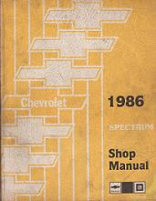 1986 Chevrolet Spectrum Factory Shop Manual