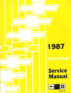 1987 Chevrolet Spectrum Factory Service Manual with Supplement Booklet