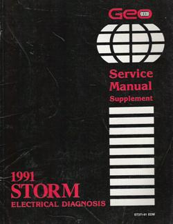 1991 Geo Storm Electrical Diagnosis Service Manual Supplement