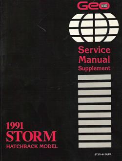 1991 Geo Storm Factory Service Manual Supplement - Hatchback
