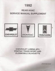 1992 Chevrolet Lumina APV, Pontiac Trans Sport & Oldsmobile Silhouette Rear HVAC Service Manual Supplement