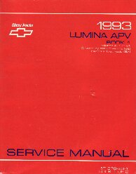 1993 Chevrolet Lumina APV Factory Service Manual - 2 Volume Set