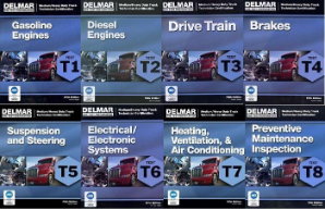 ASE Test Prep Manuals -- Medium/Heavy Duty Truck: T1 - T8 (8 Book Set) Delmar 5th Edition
