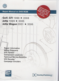 1999 - 2006 Golf, GTI, Jetta: Official Factory Repair Manual on DVD