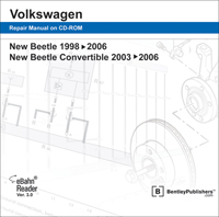 1998 - 2008 Volkswagen New Beetle & 2003 - 2008 New Beetle Convertible Original Factory Repair Manual on DVD-ROM